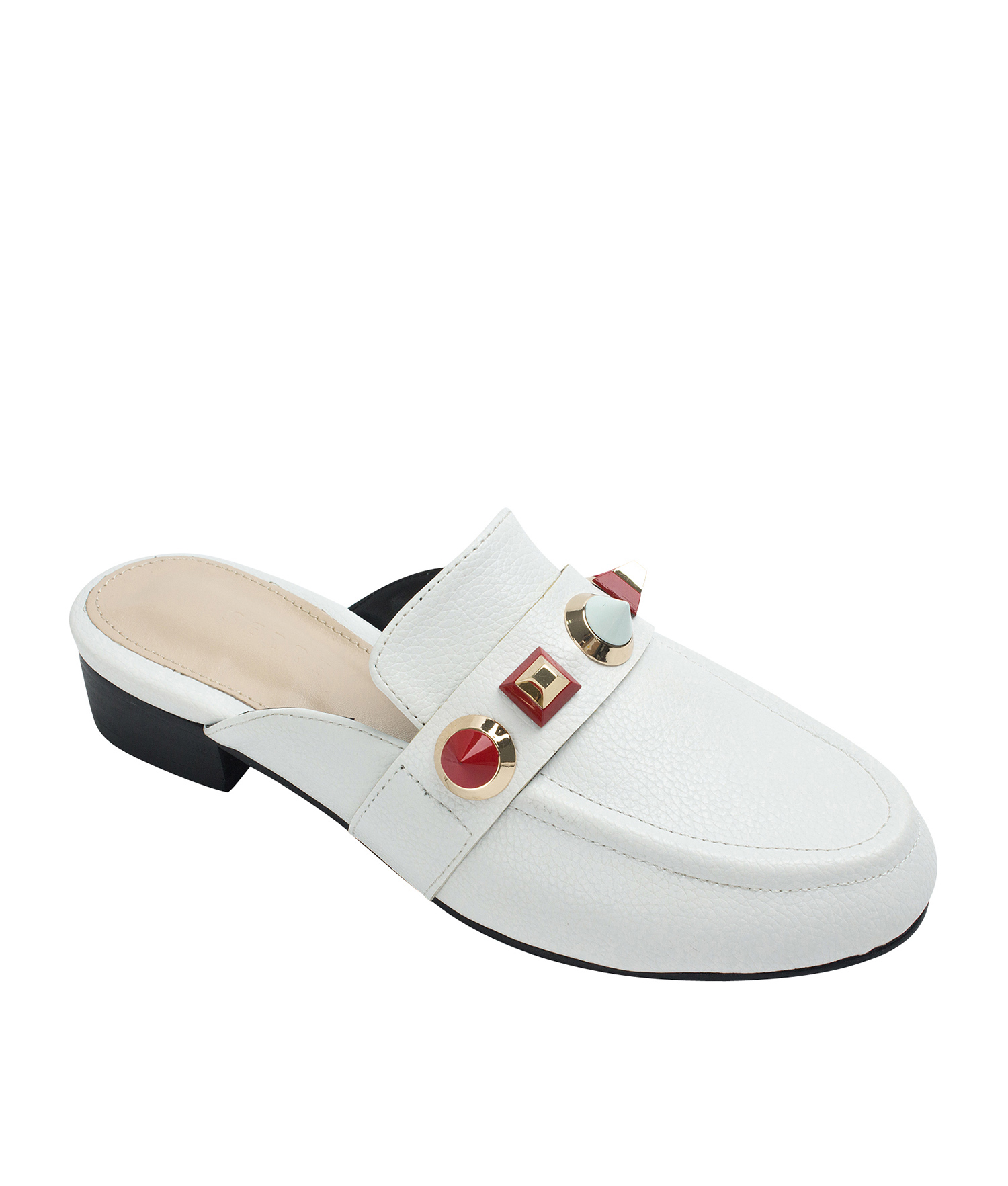 c194b720f8c AnnaKastle Womens Studded Backless Loafer Mules White