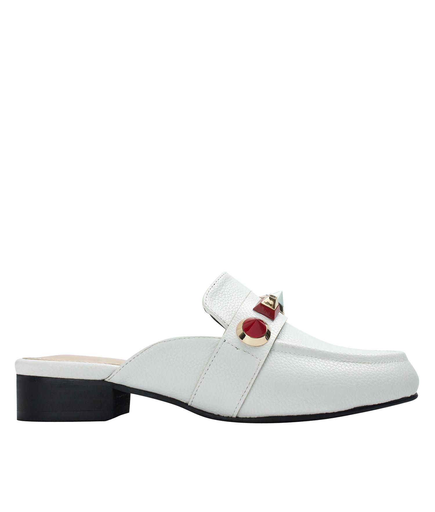 96e94fcffdf0 AnnaKastle Womens Studded Backless Loafer Mules White