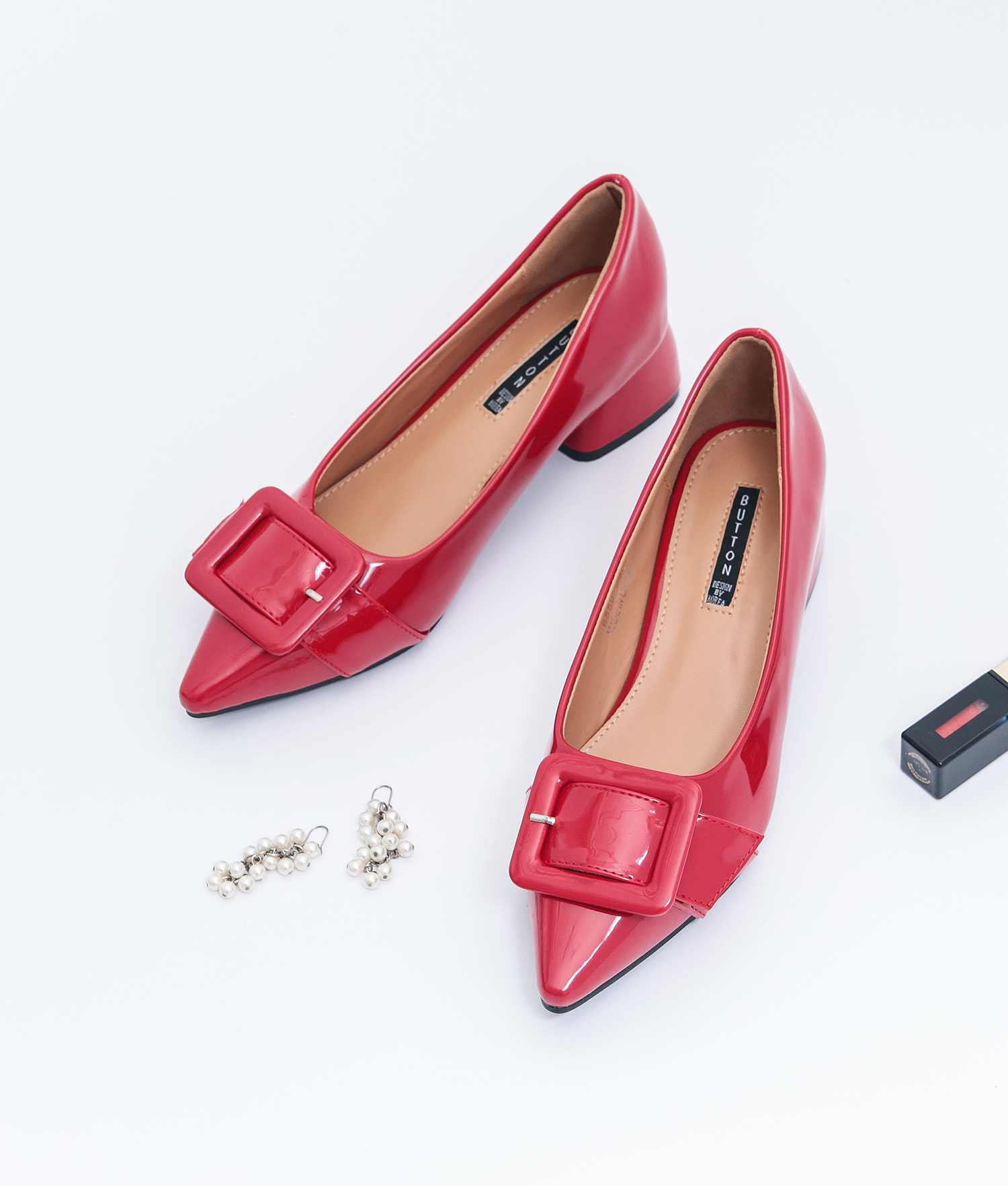 Big Buckle Patent Pointed Toe Pumps - annakastleshoes.com 38354aa2f6