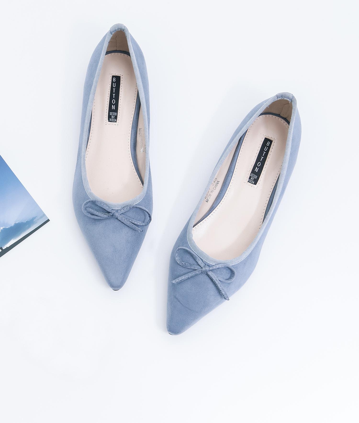 d68061904b2 AnnaKastle Womens Cute Bow Pointed Toe Ballerina Flats Blue