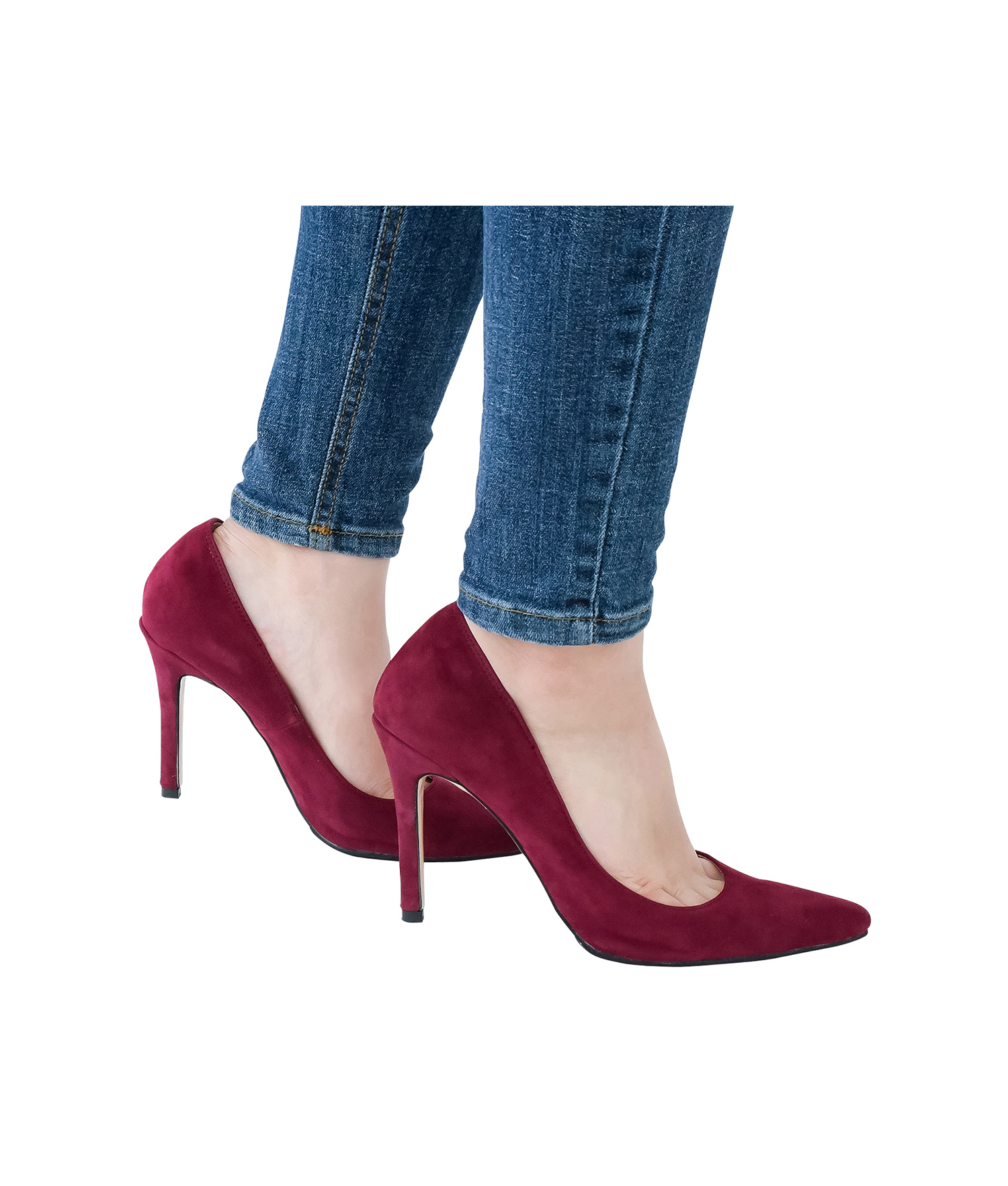 962acad221fd AnnaKastle Womens Pointy Toe High Heel Court Shoes Burgundy