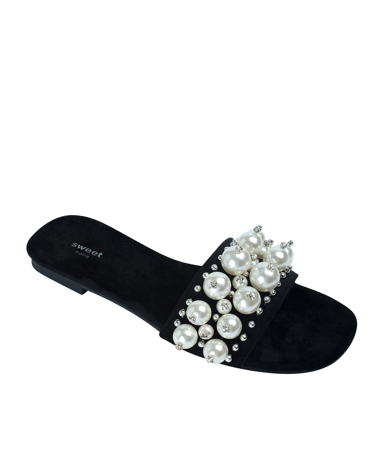 5898a354bbc6 AnnaKastle Womens Faux Pearl Studded Slide Sandals Black