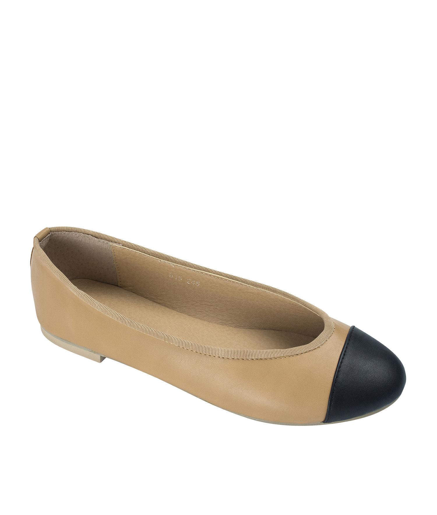 f67240c9c AnnaKastle Womens Classic Cap toe Ballerina Flats Tan+Black