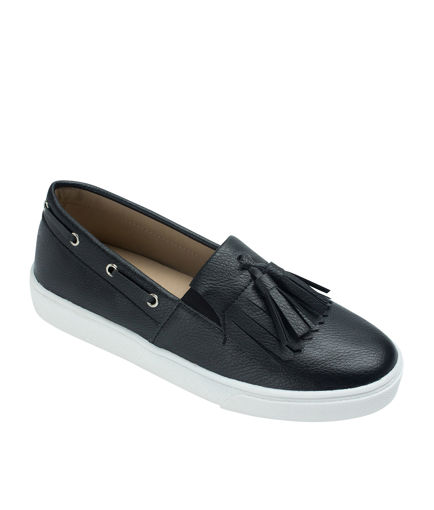 4e8fd9048a8a2 AnnaKastle Womens Kiltie Tassel Loafer Sneakers Black