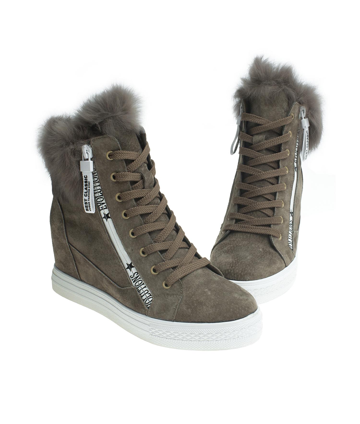 Fur Trim Suede Hi Top Sneaker Boots Annakastleshoes Com
