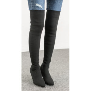 a013f70d33ad AnnaKastle Womens Pointy Toe Stretch Fabric Thigh High Boots Black