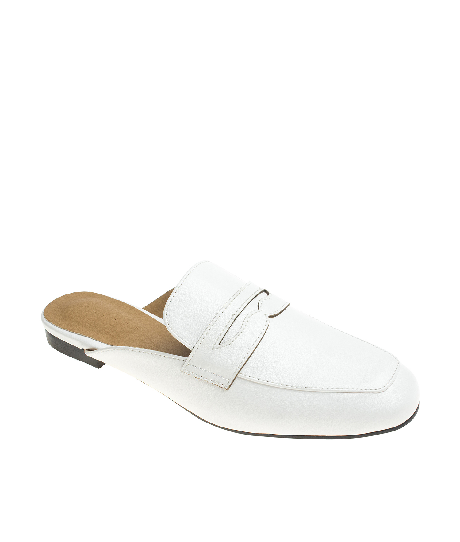 cd687e99e19 AnnaKastle Womens Classic Backless Penny Loafers White
