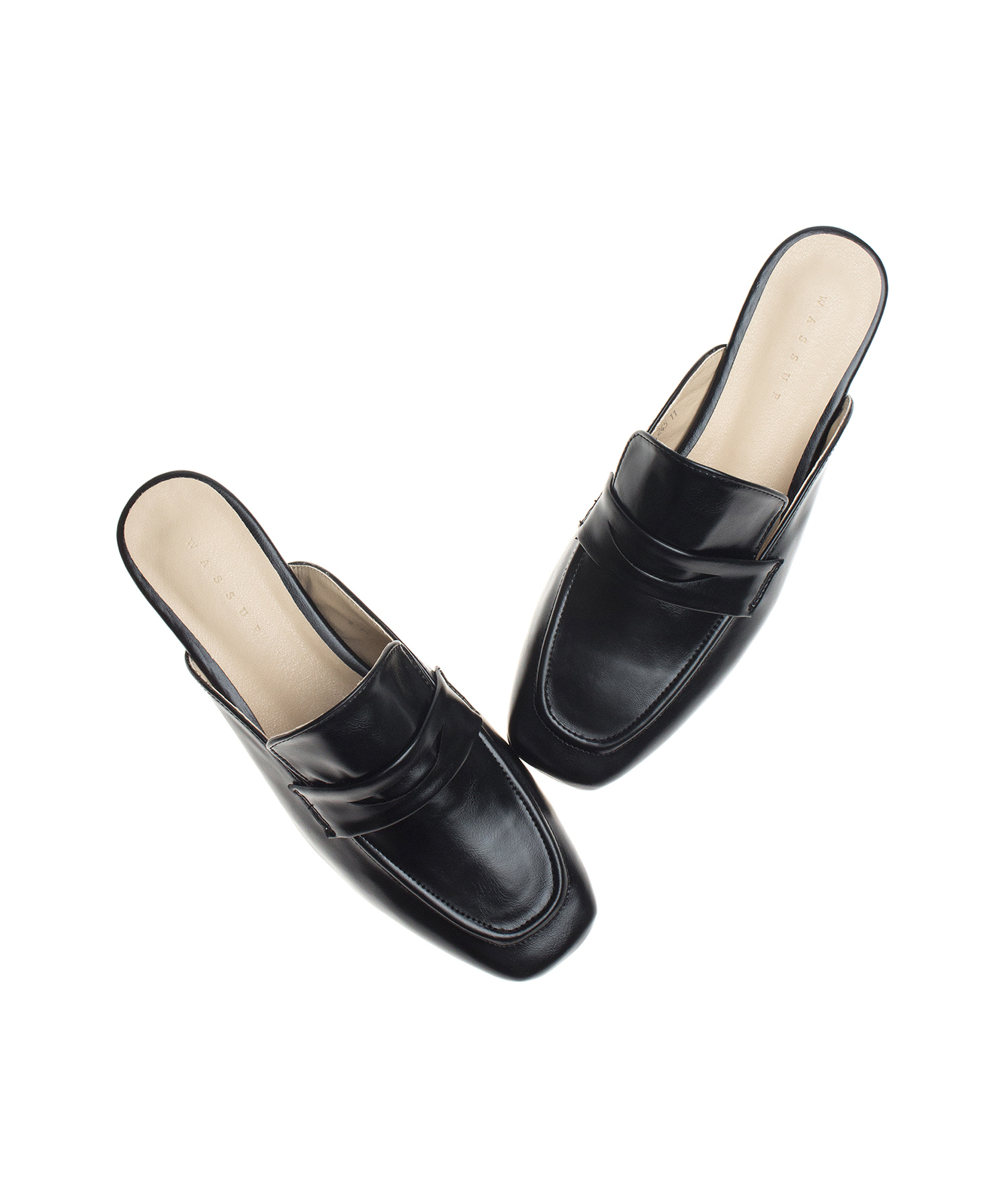 e6187b51f3a2 AnnaKastle Womens Modern Backless Slip On Loafers Black