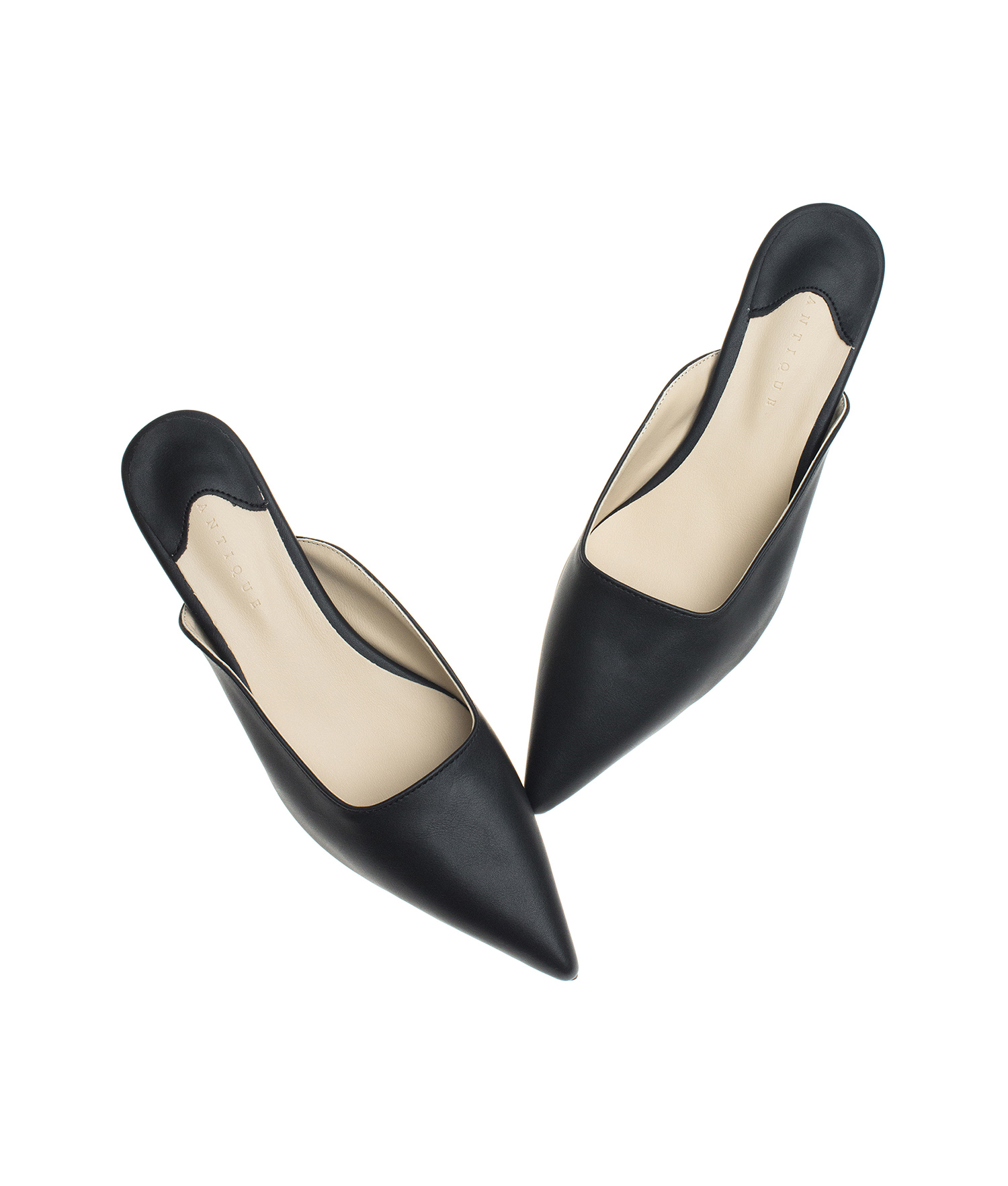 fc55cf8ac AnnaKastle Womens Pointed Toe Kitten Heel Mule Pumps Black
