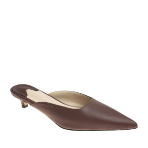 b202d185904 AnnaKastle Womens Pointed Toe Kitten Heel Mule Pumps Brown