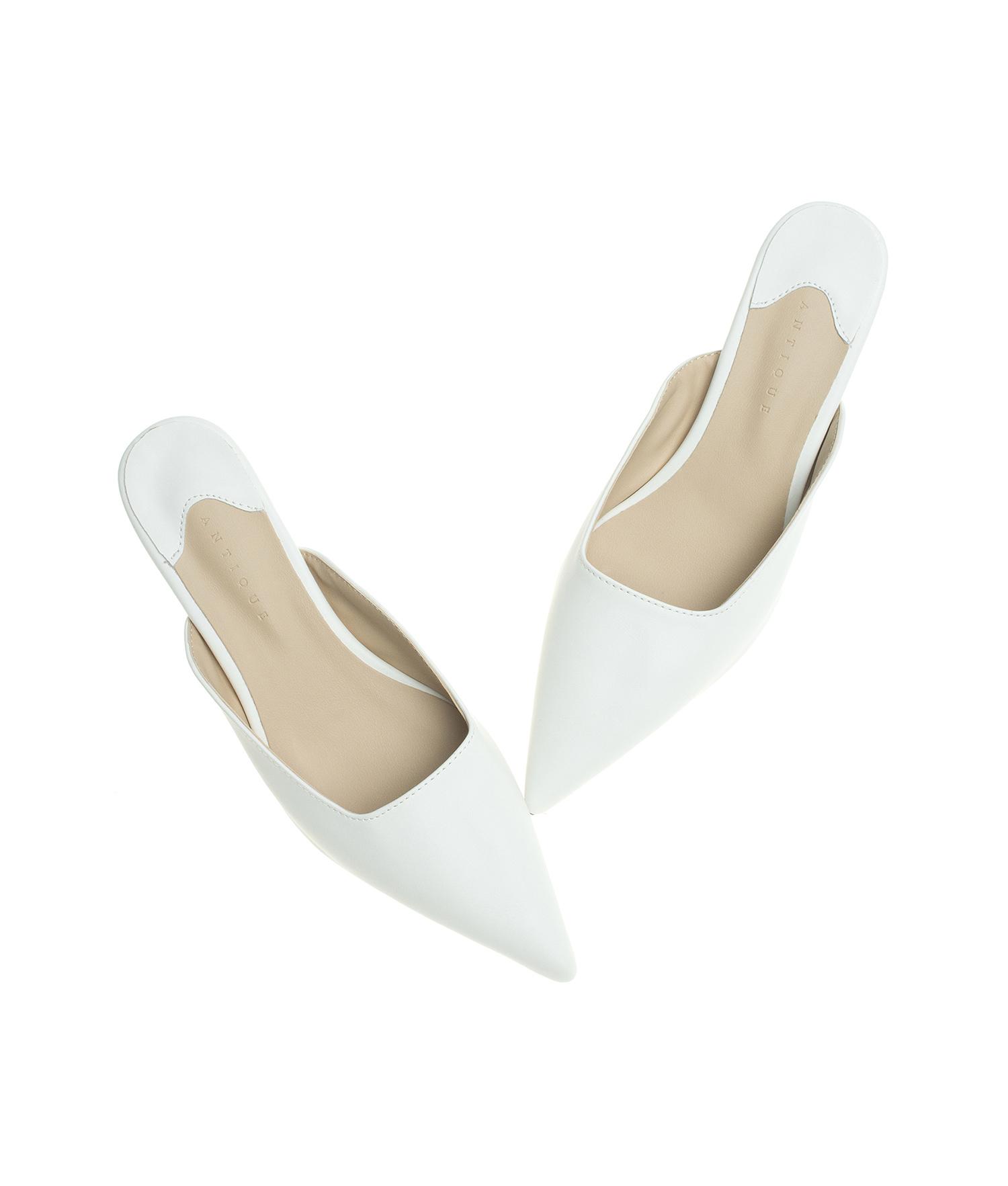 AnnaKastle Womens Pointed Toe Kitten Heel Mule Pumps White