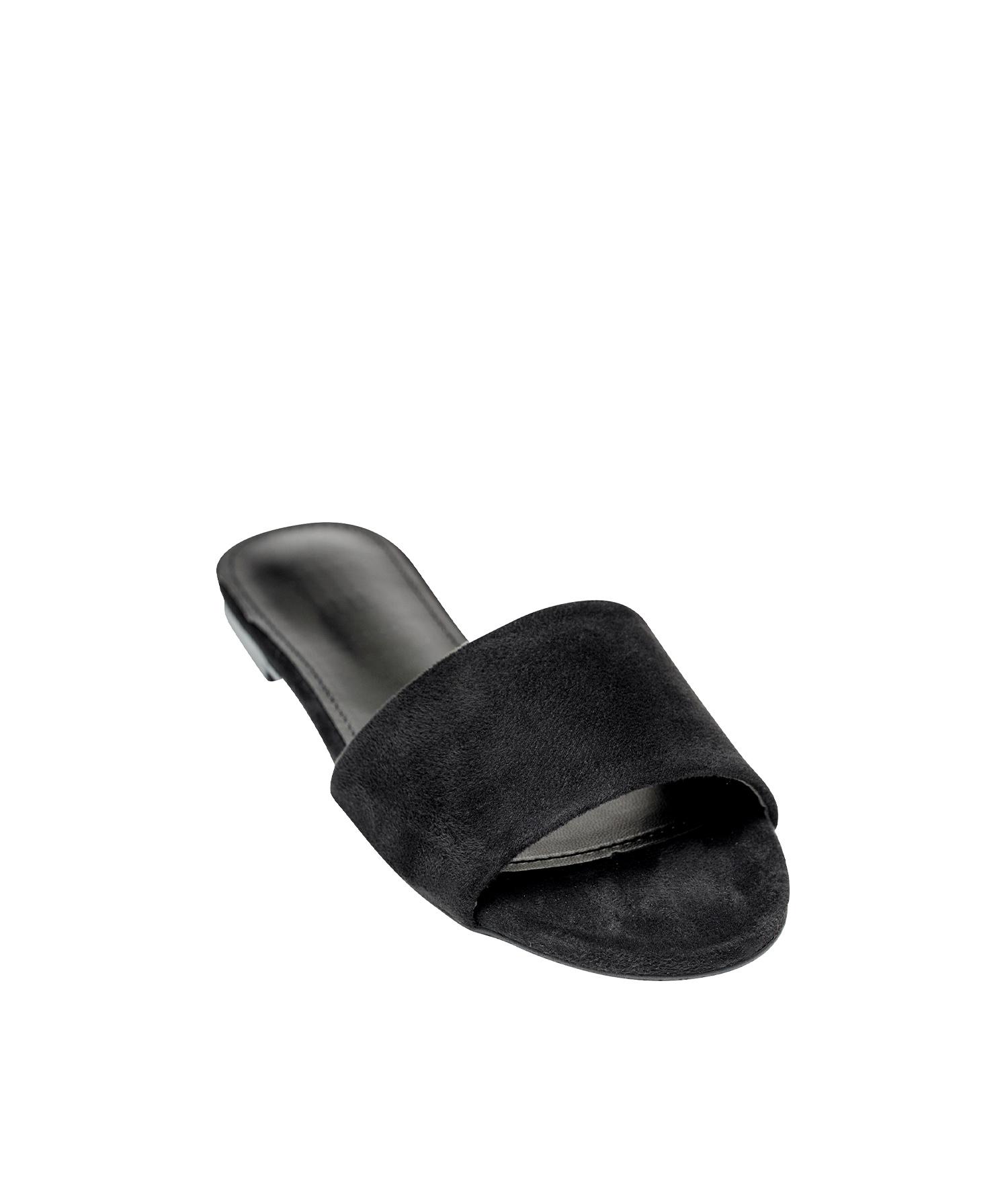 63a7f67c69a AnnaKastle Womens Vegan Suede Single Strap Slide Sandals Black