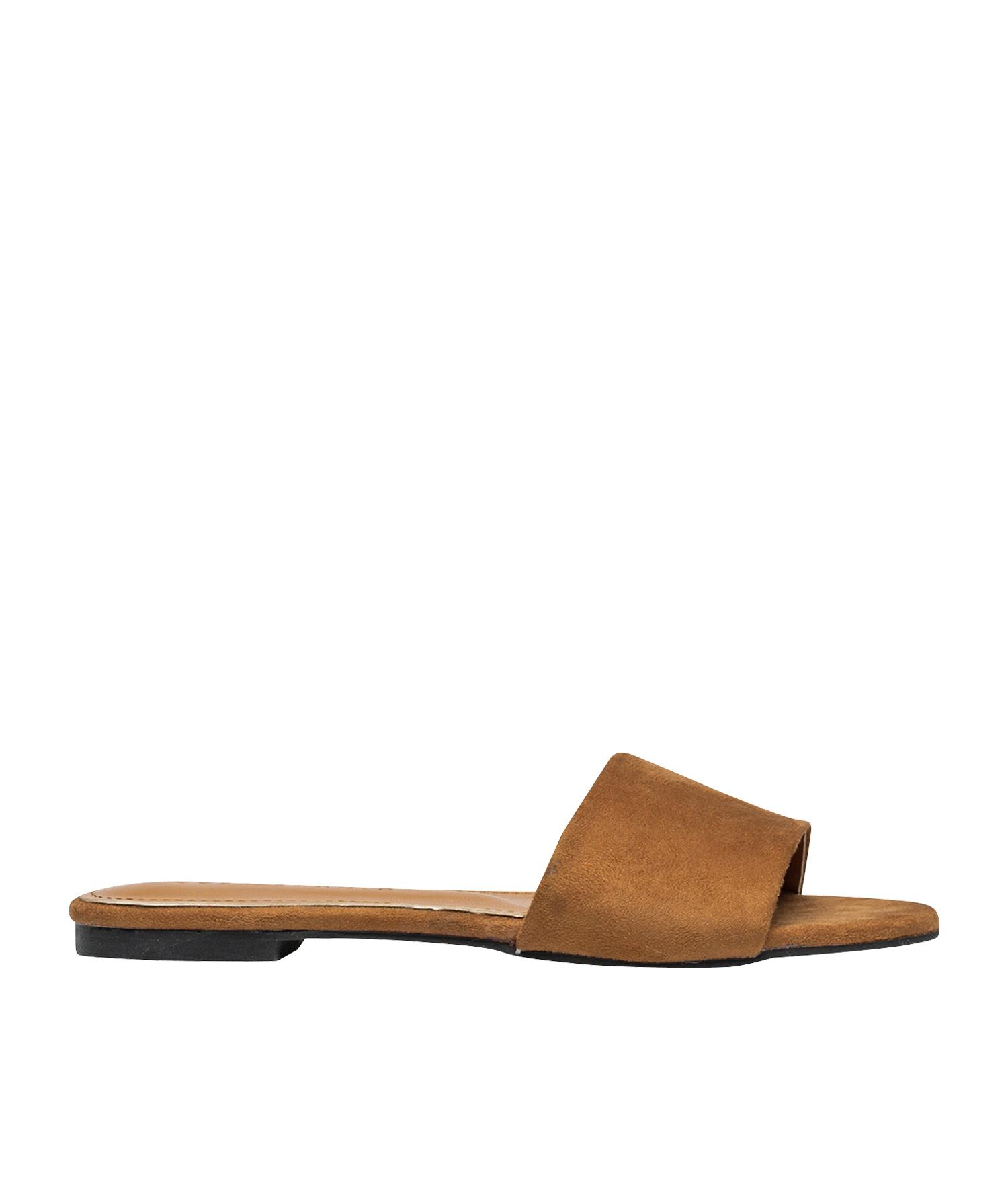 c2c76ef276b AnnaKastle Womens Vegan Suede Single Strap Slide Sandals Brown