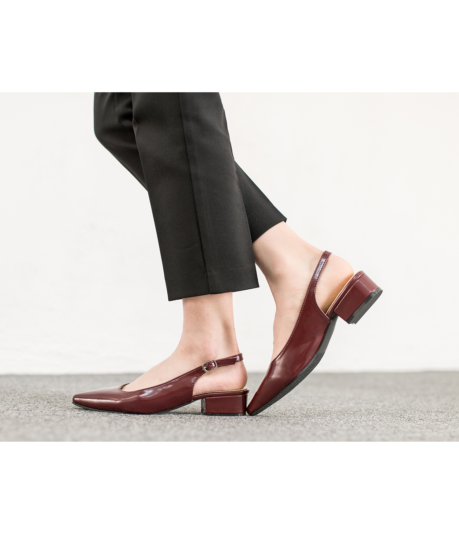 912cacc65d21b AnnaKastle Womens Pointy Toe Slingback Low Heel Pumps Wine