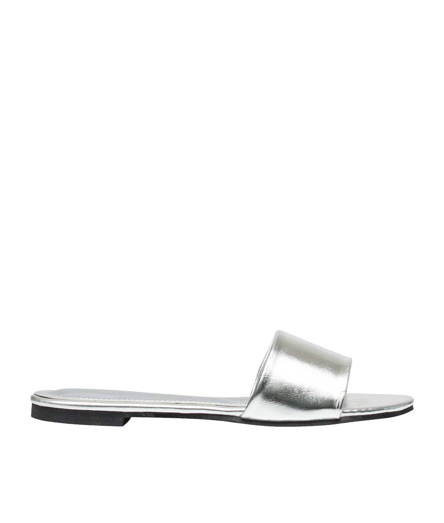 6d9fc803ae3 AnnaKastle Womens Vegan Leather One Strap Slide Sandals Silver