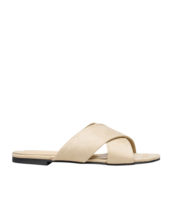 AnnaKastle Womens Vegan Suede Crisscross Slide Sandals Beige