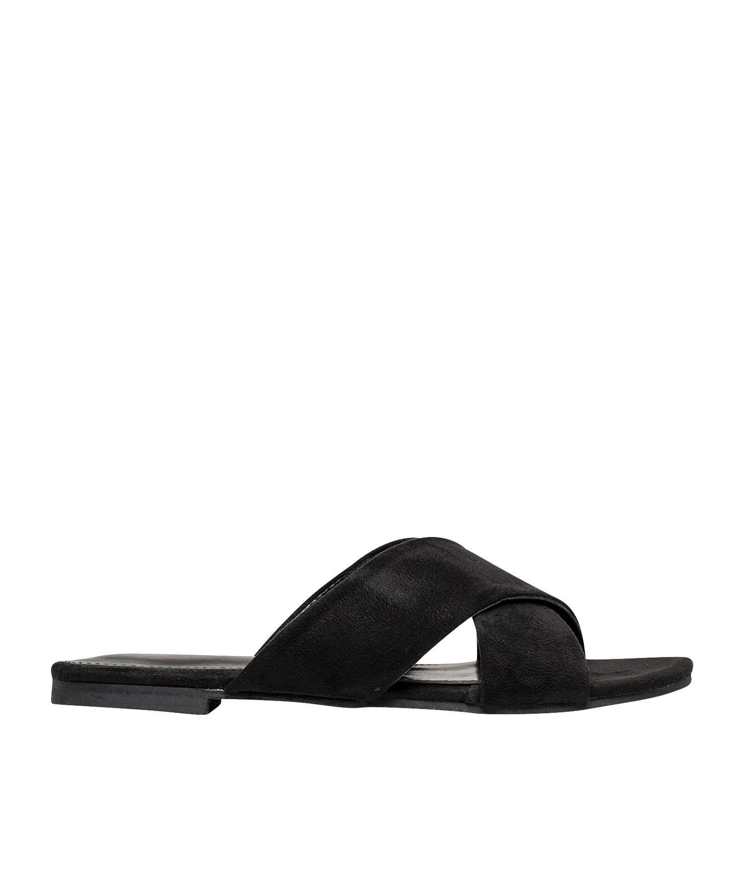 6e1a848d0 AnnaKastle Womens Vegan Suede Crisscross Slide Sandals Black