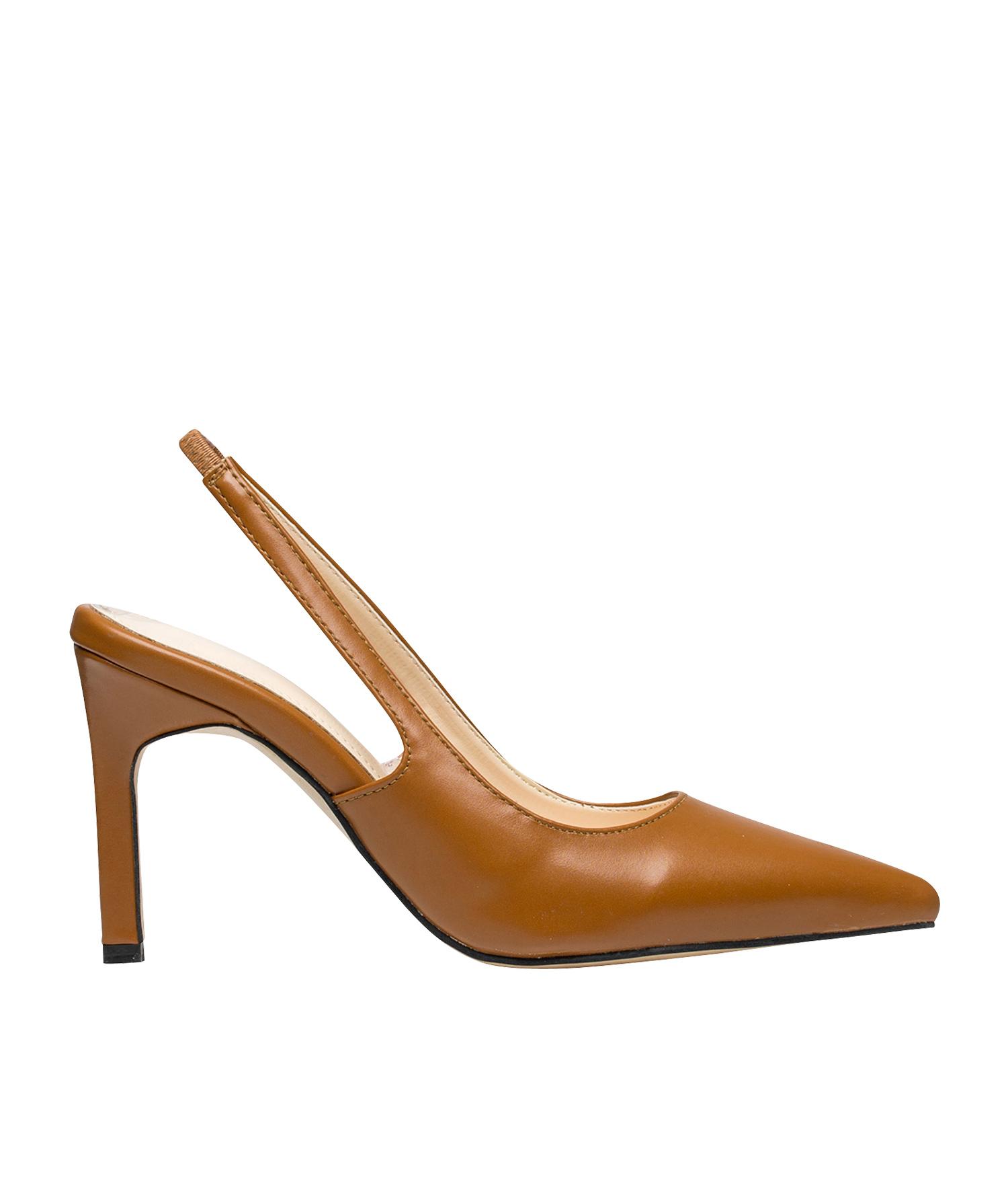 94872c67b AnnaKastle Womens Sleek Closed Toe Slingback Heels Brown