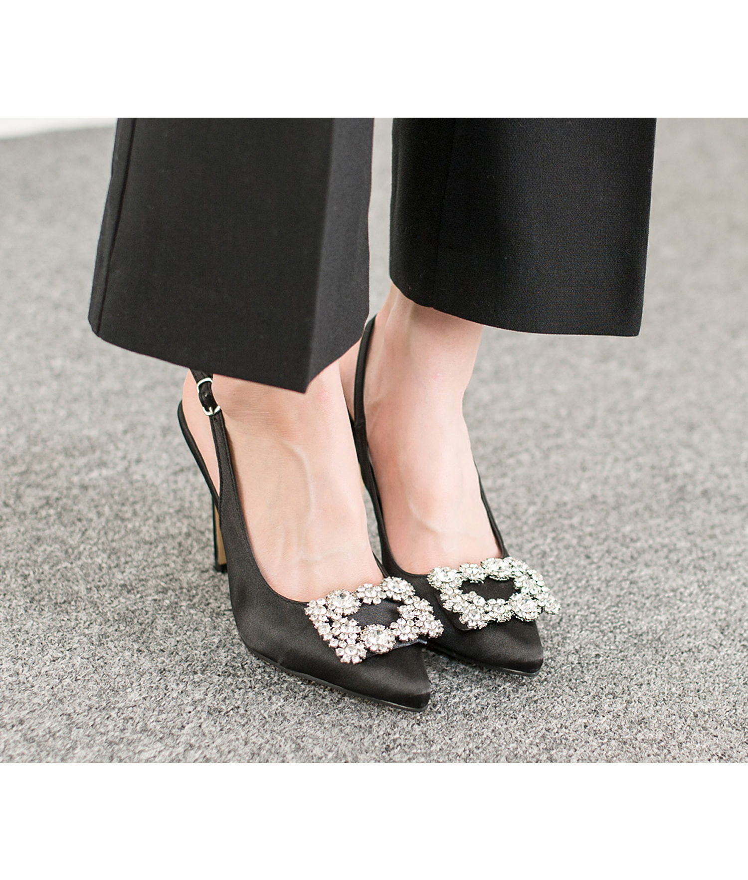 9c164c3d1d Black Satin Jeweled Buckle Slingback Pumps - annakastleshoes.com