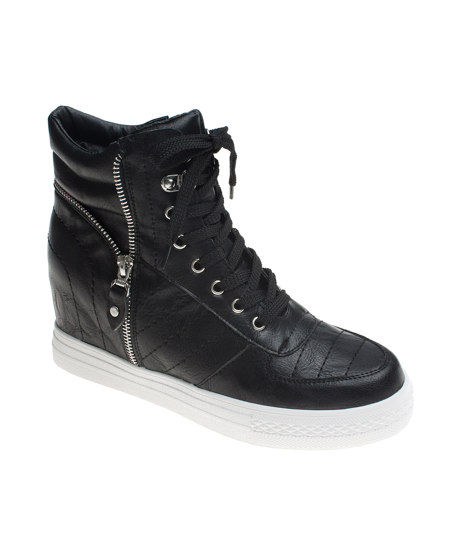Quilted Faux Leather Wedge Sneakers Annakastleshoes Com
