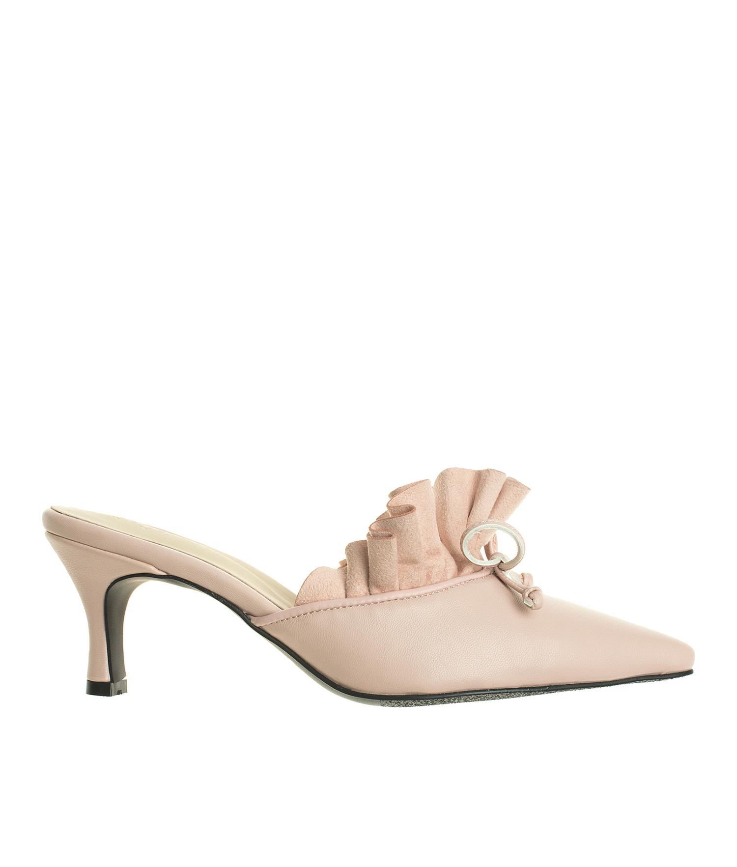 5be945b9bf AnnaKastle Womens Kitten Heel Ruffled Mule Dress Shoes Light Pink
