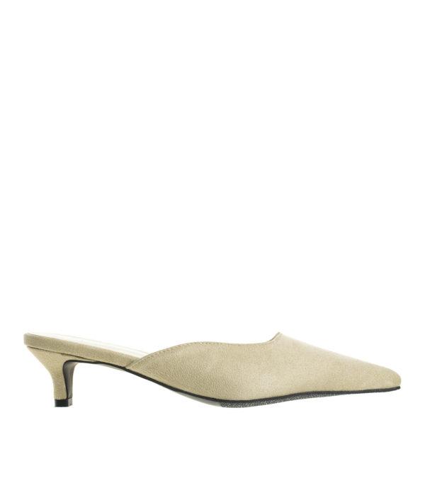4bb4671abba AnnaKastle Womens Pointy Toe Kitten Heel Mule Dress Shoes Suede Beige