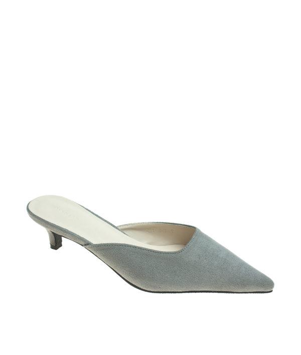 5b70aa58d25 AnnaKastle Womens Pointy Toe Kitten Heel Mule Dress Shoes Suede Gray