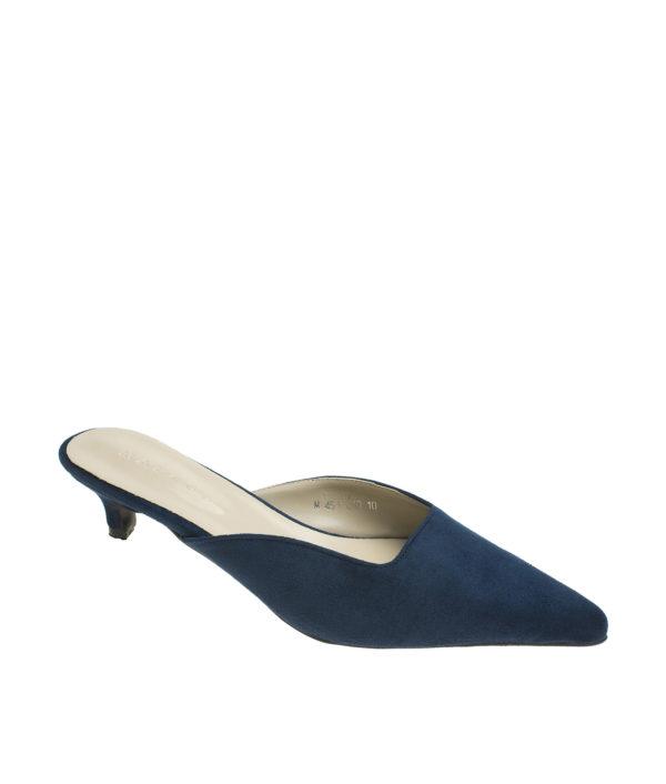 189066ea4a2 AnnaKastle Womens Pointy Toe Kitten Heel Mule Dress Shoes Suede Navy