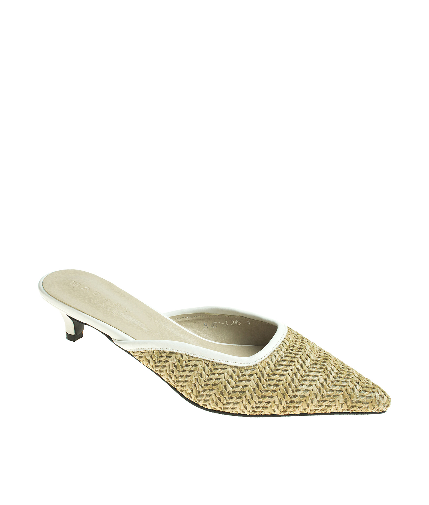 87c419bbe6a9 AnnaKastle Womens Pointy Toe Natural Woven Low Kitten Heel Mule Sandals  Straw