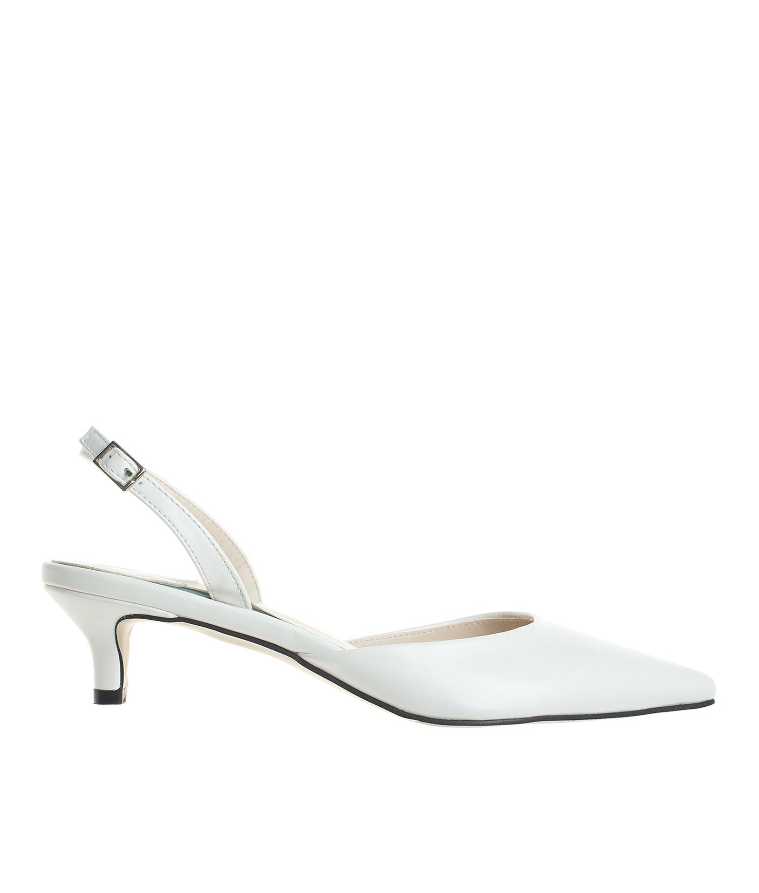 AnnaKastle Womens Pointed Toe Kitten Heel Slingback Pumps Dress Shoes White