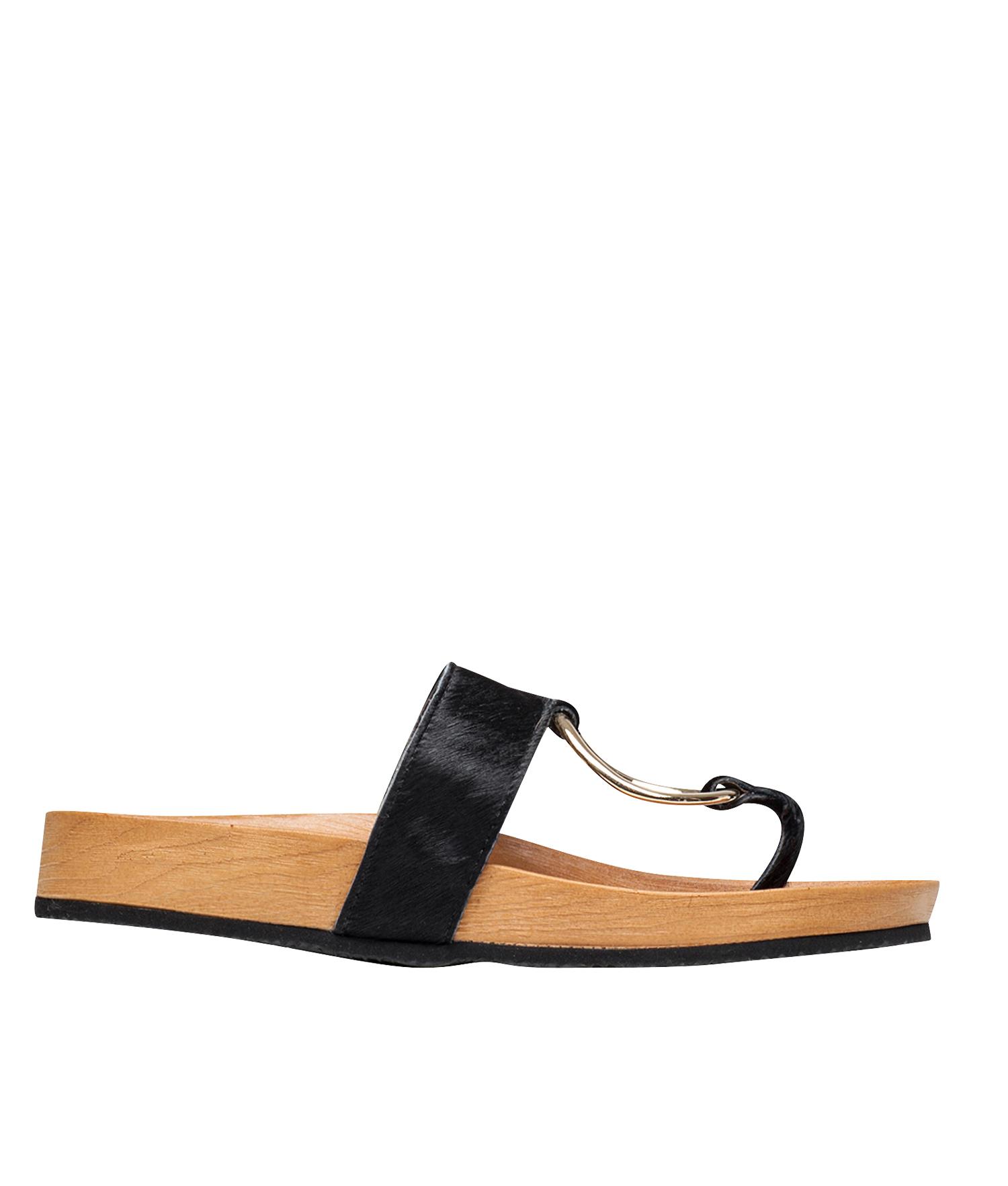 68eb1b4e9 AnnaKastle Womens Calf Hair Ring Thong Sandal Slide Flip Flops Black