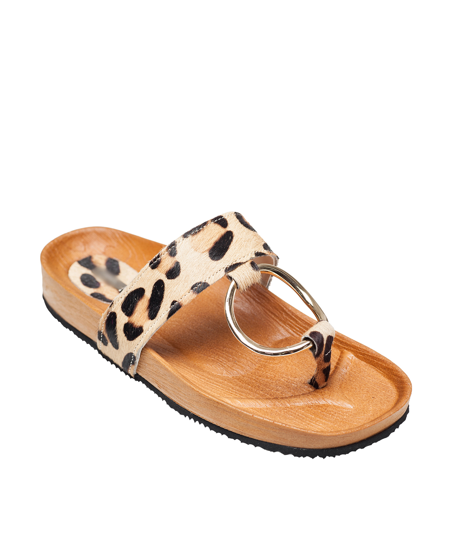 8faf305e840 AnnaKastle Womens Calf Hair Ring Thong Sandal Slide Flip Flops Leopard