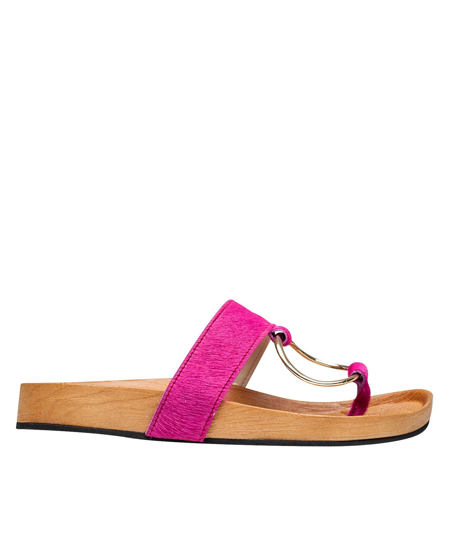 2fd1c8c99 AnnaKastle Womens Calf Hair Ring Thong Sandal Slide Flip Flops Pink