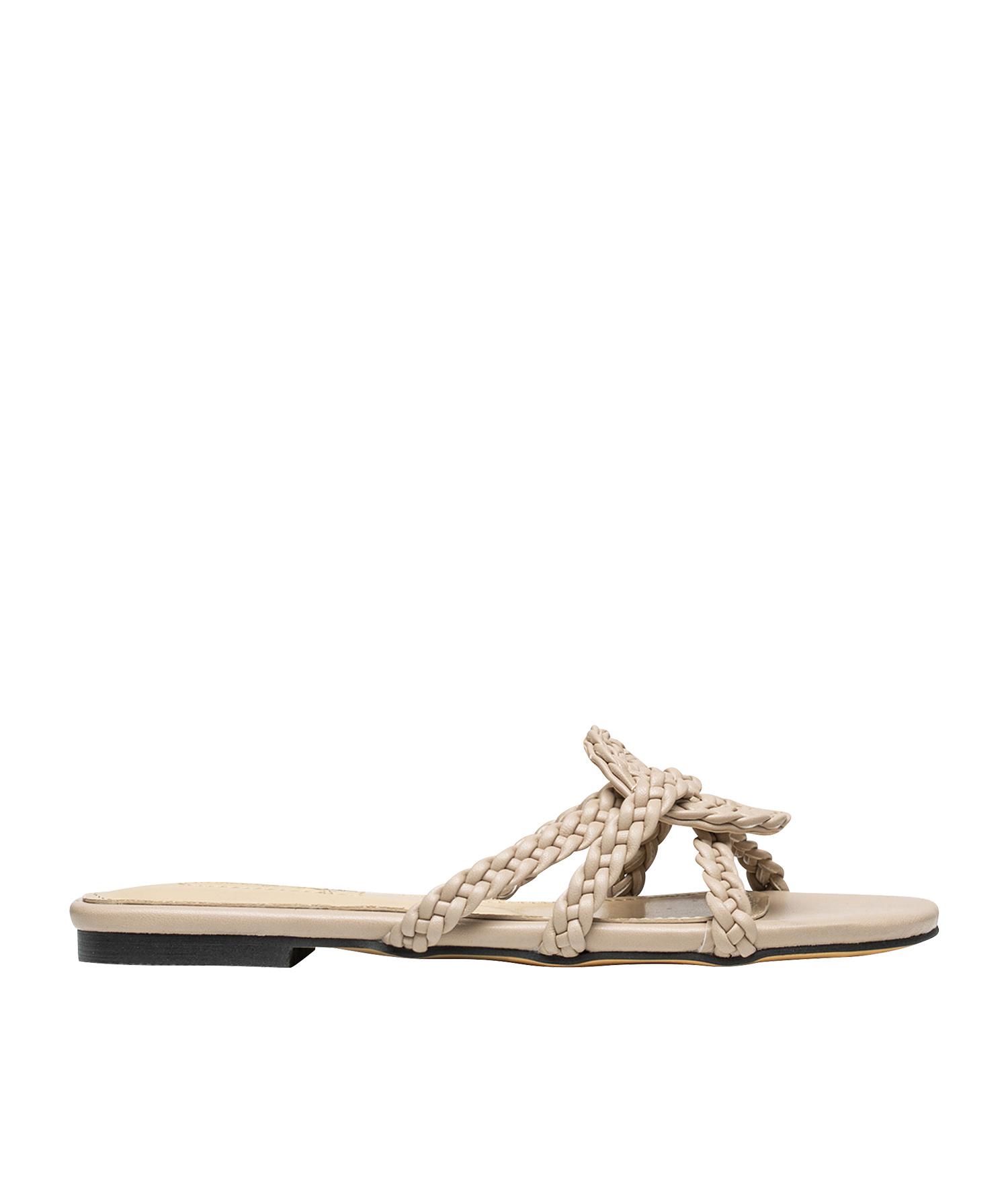 e450703d2aefe AnnaKastle Womens Braided Strap Slide Flat Sandal Beige