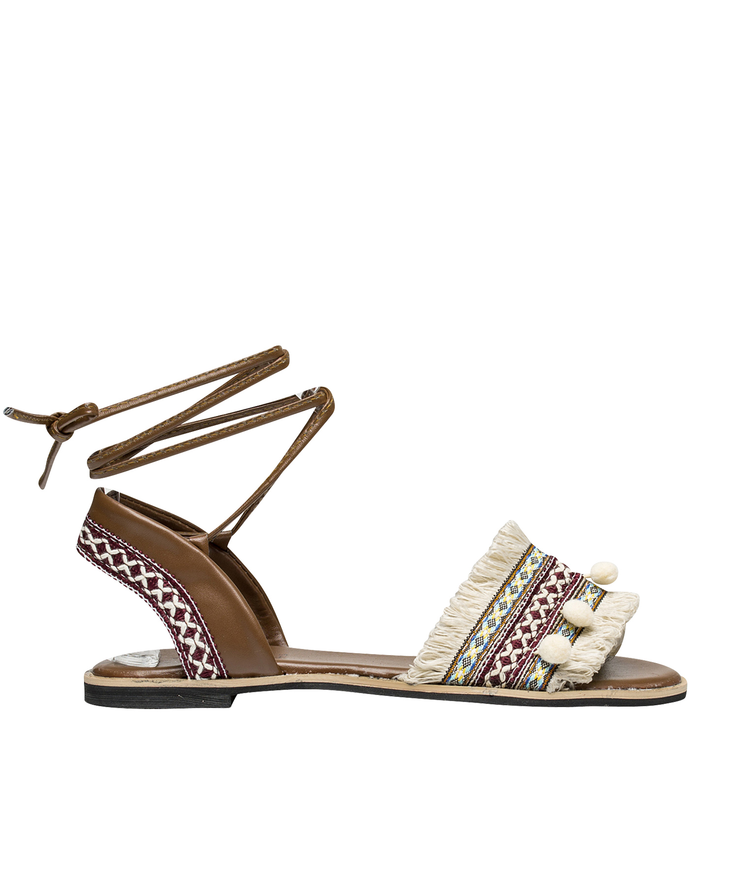 a51358e1ea707 Embroidered Ankle Wrap Tie Flat Sandals