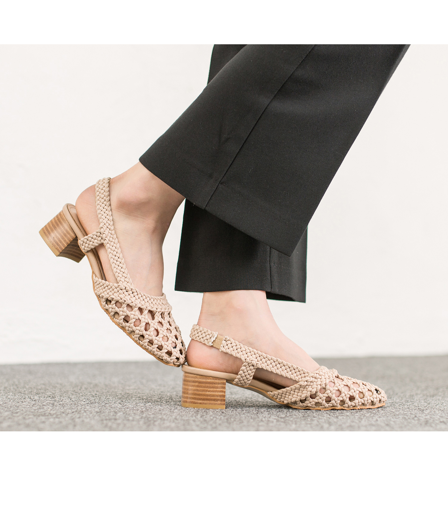 Leather Braided Woven Slingback Sandals Annakastleshoes Com