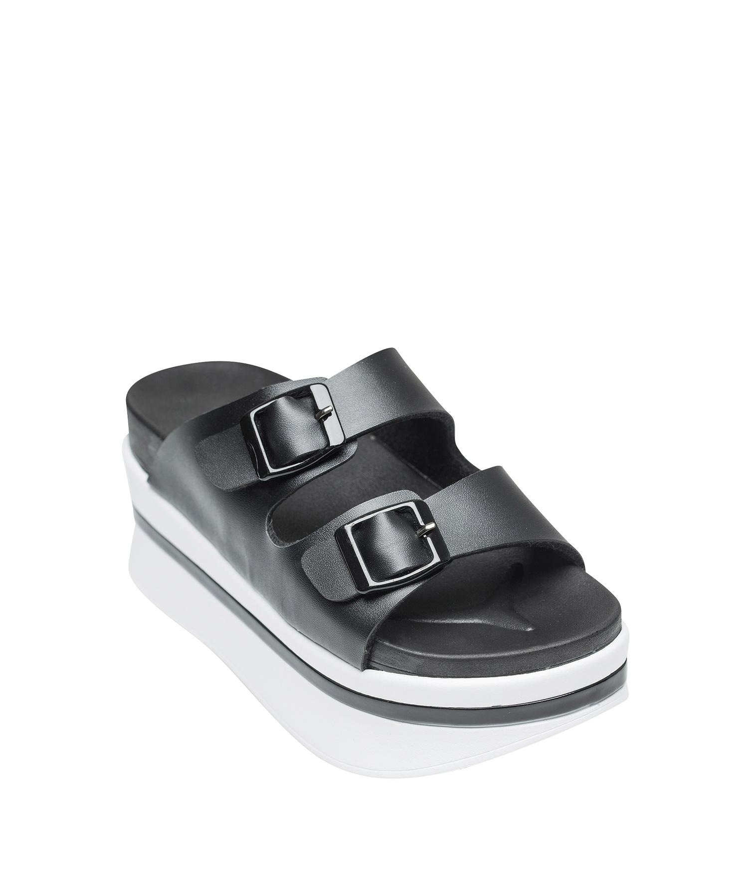 77544f753051 AnnaKastle Womens Double Strap Platform Slide Slipper Sandal Black