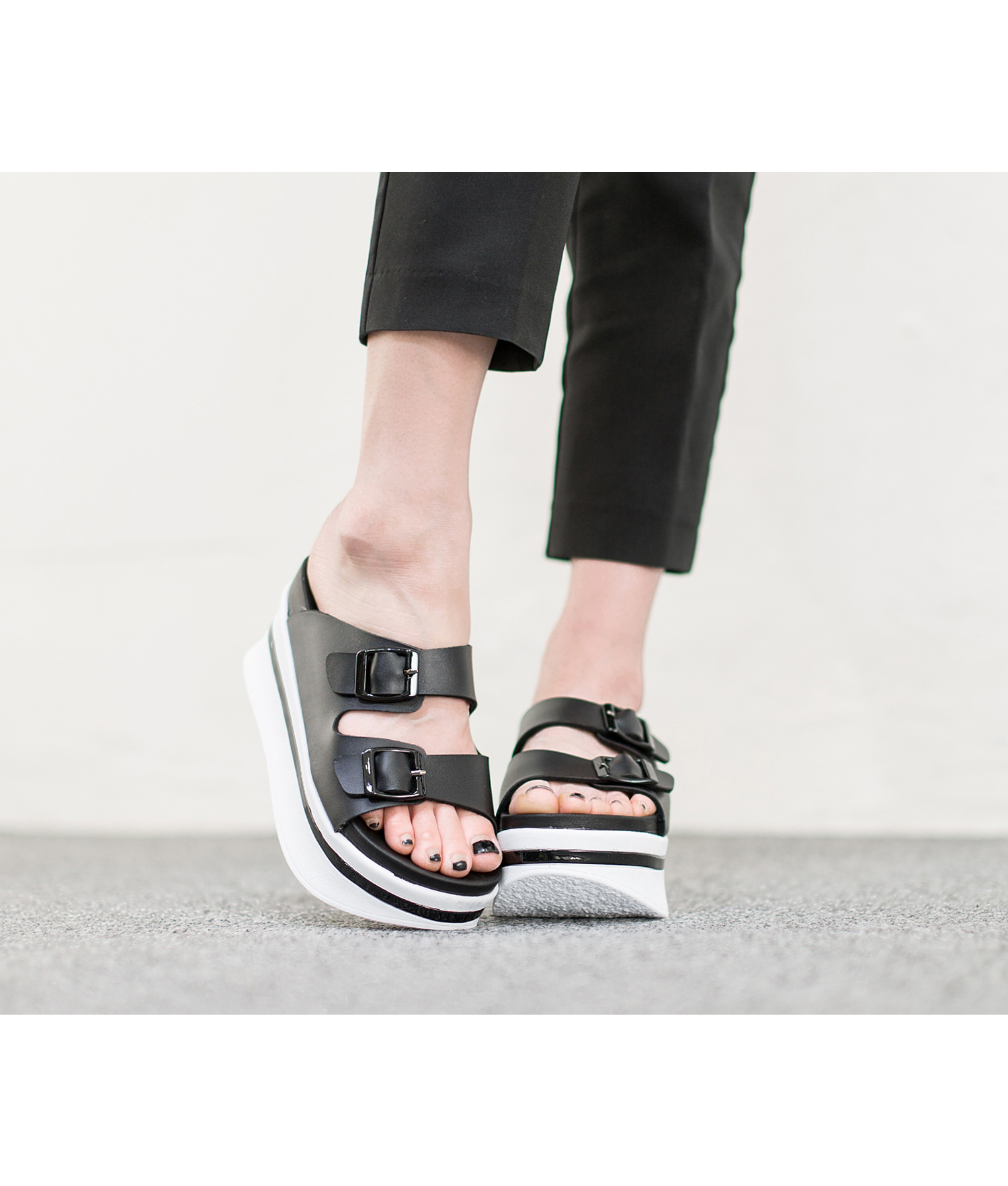 Double Strap Platform Slide Slipper Sandal