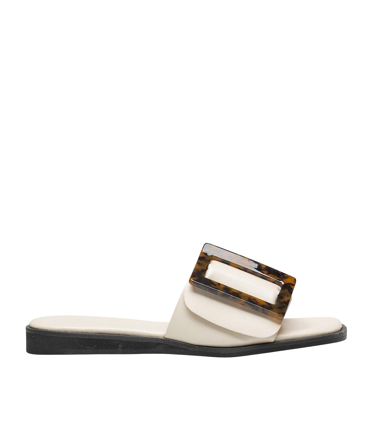 6d1055e32717 AnnaKastle Womens Square Buckle Flat Slide Sandals Ivory