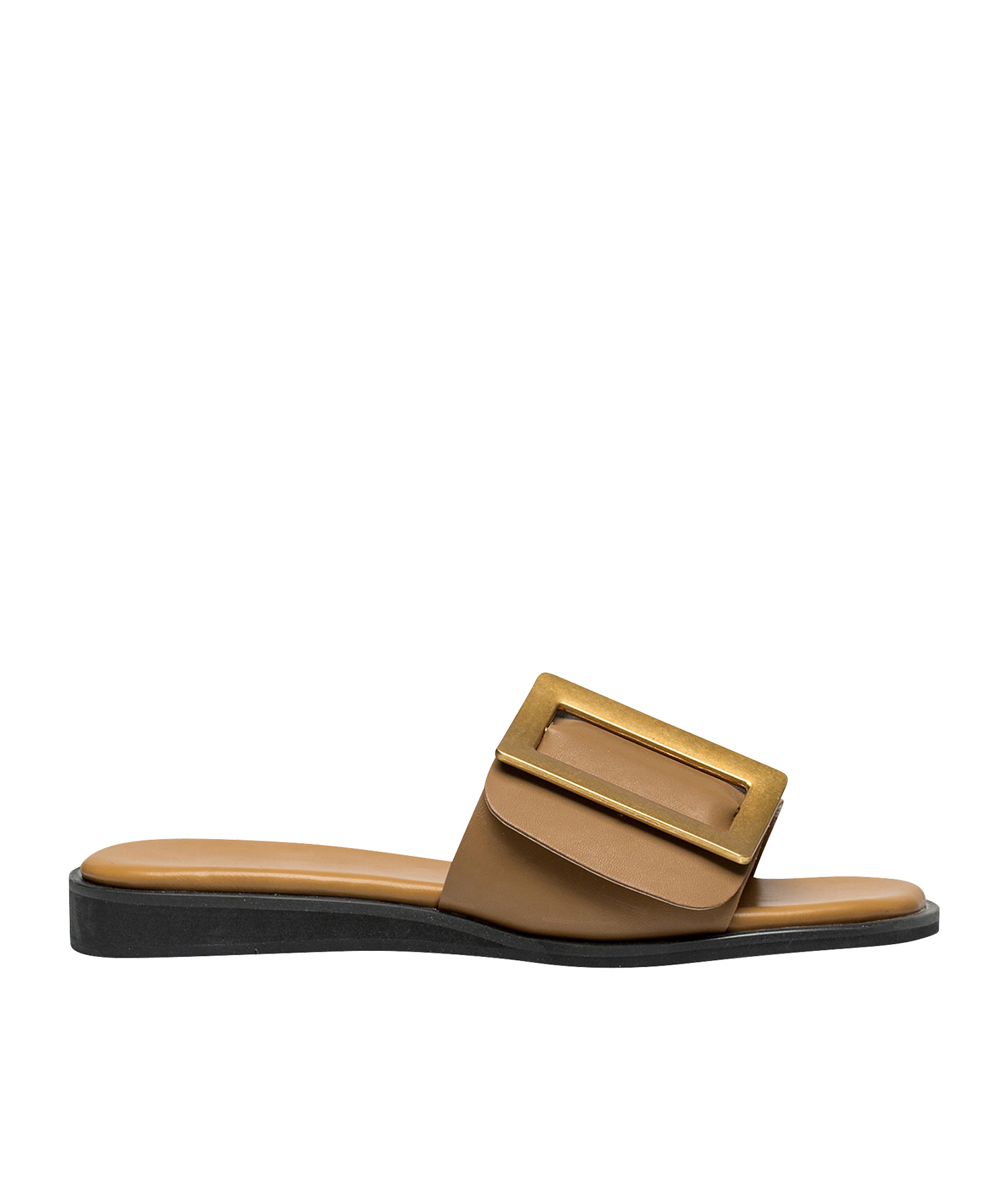 8d6f0406d50 AnnaKastle Womens Square Buckle Flat Slide Sandals LightBrown