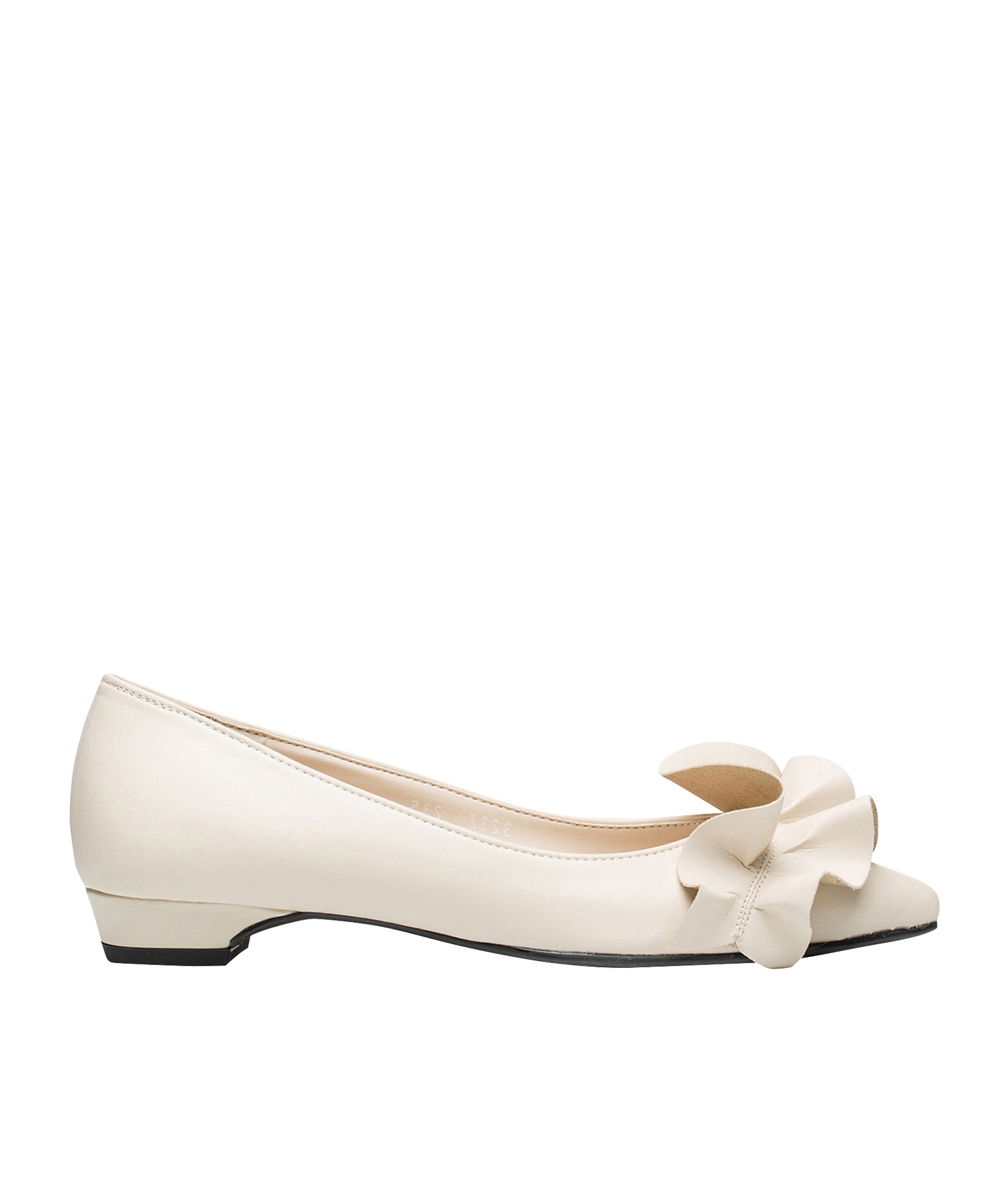acf4f1c4737 AnnaKastle Womens Ruffle Accent Pointy Low Heel Pumps Ivory