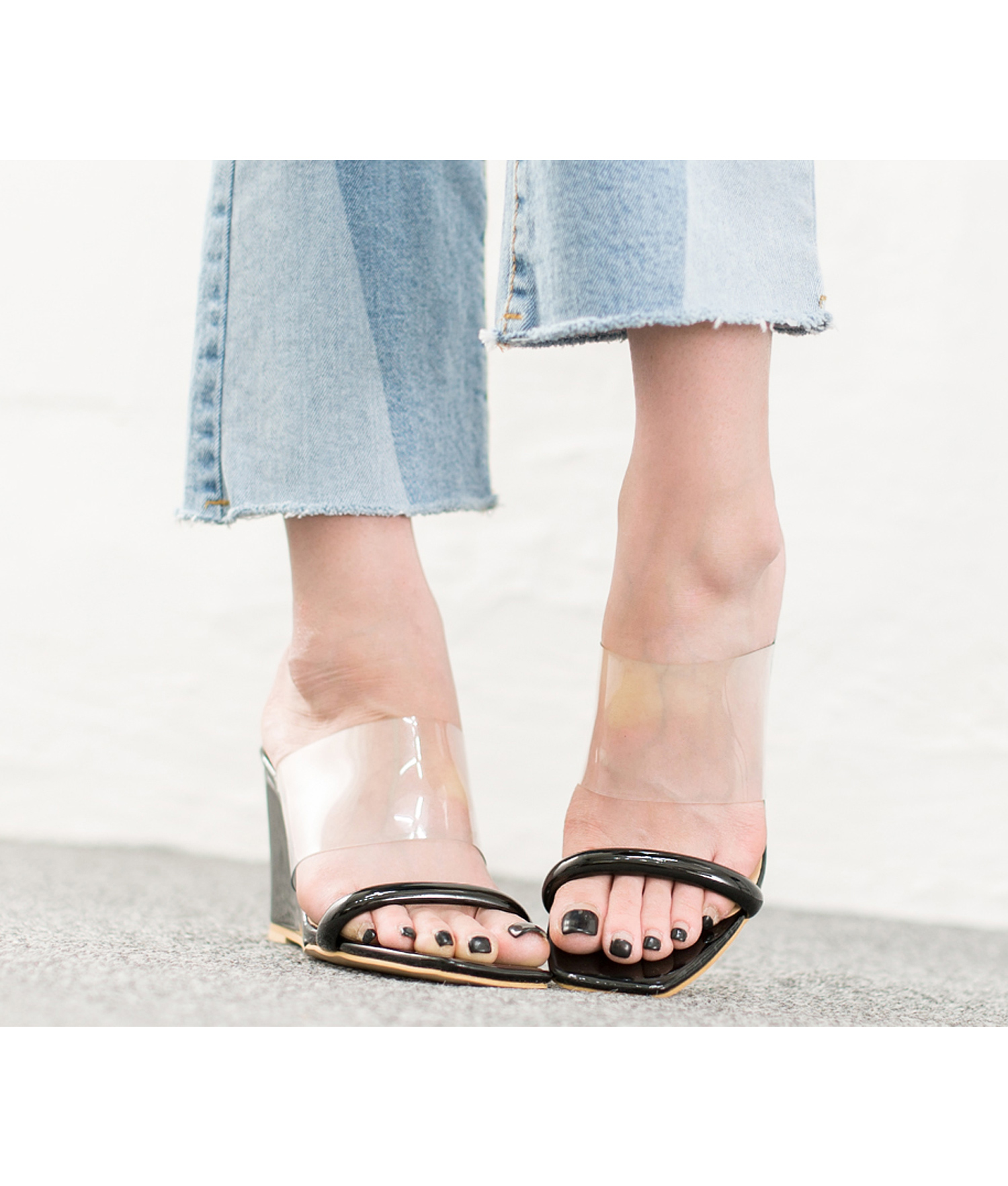 877474ed6 AnnaKastle womens color accent transparent wedge heel mule sandals black