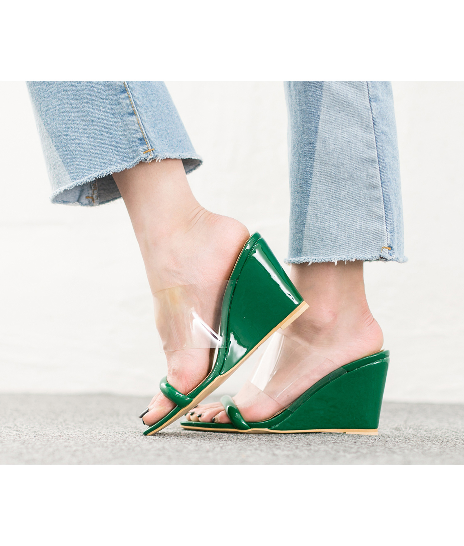 67c248f04 AnnaKastle womens color accent transparent wedge heel mule sandals green