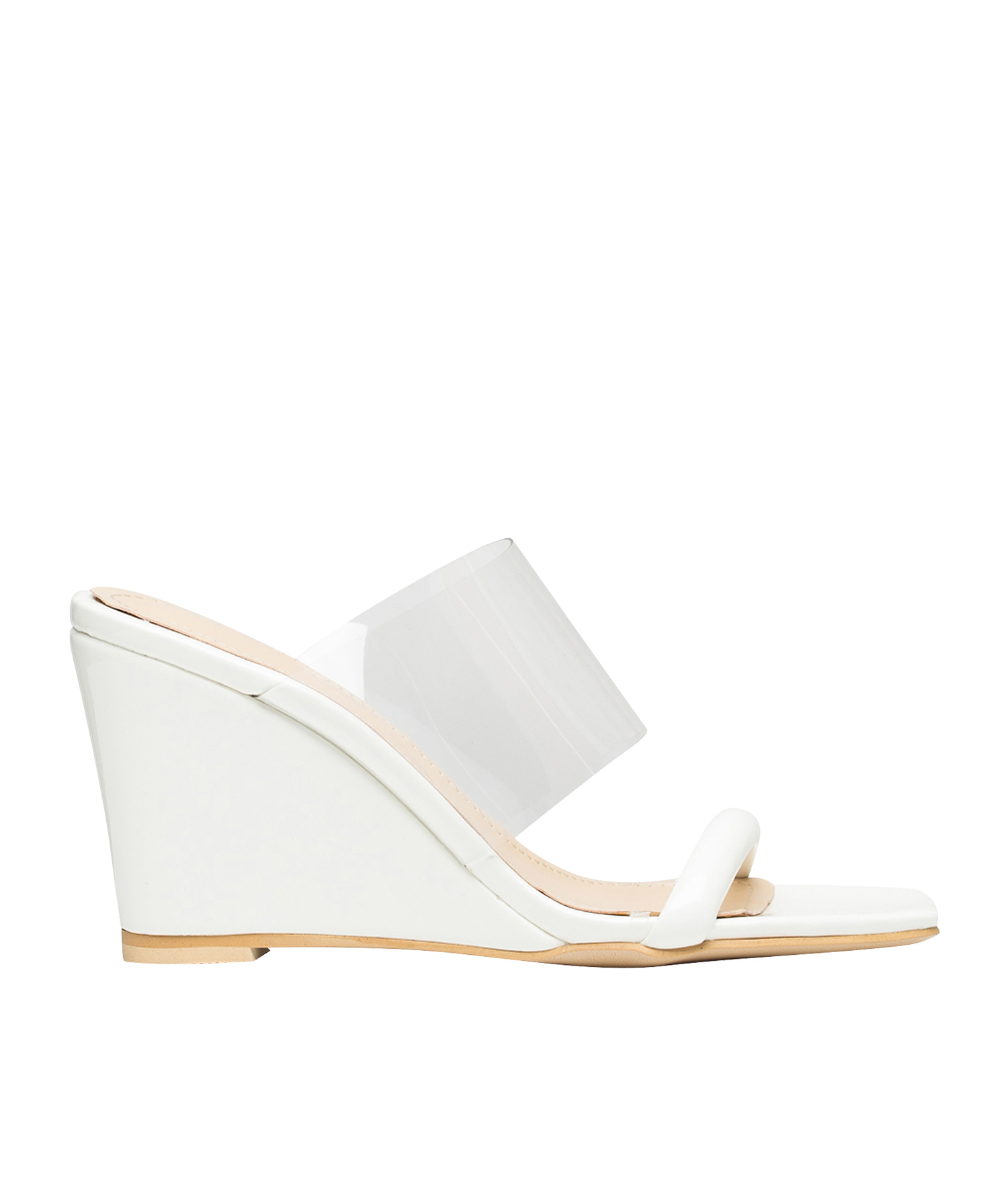 7b73d93cc AnnaKastle womens color accent transparent wedge heel mule sandals white