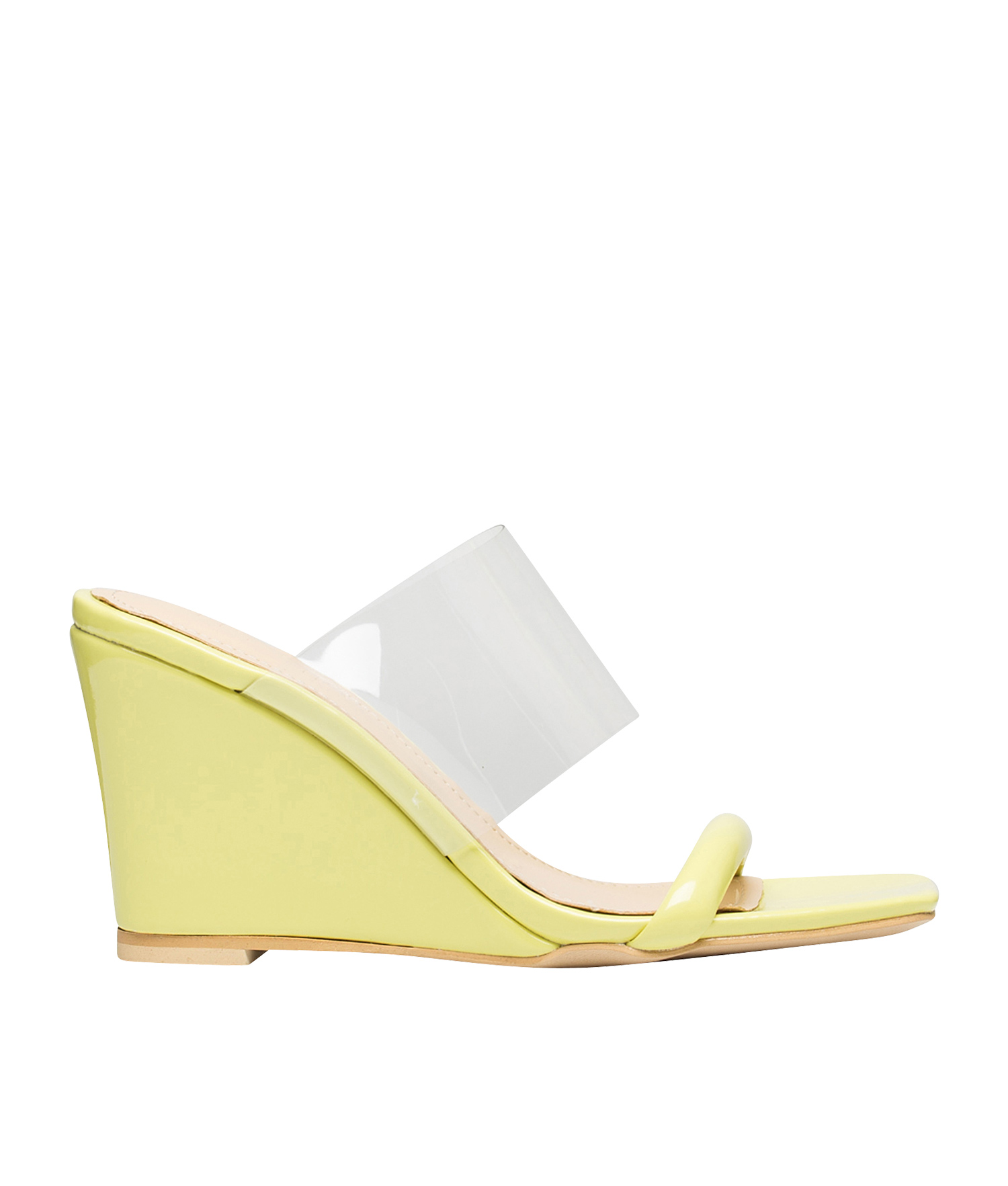 2333bef9b AnnaKastle womens color accent transparent wedge heel mule sandals yellow