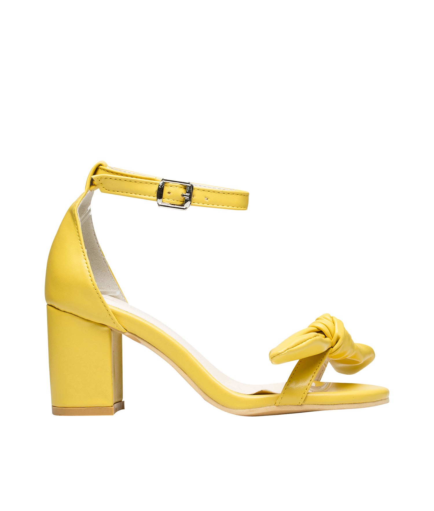 AnnaKastle Womens Bowknot Ankle Strap Chunky Mid Heel Sandals Yellow