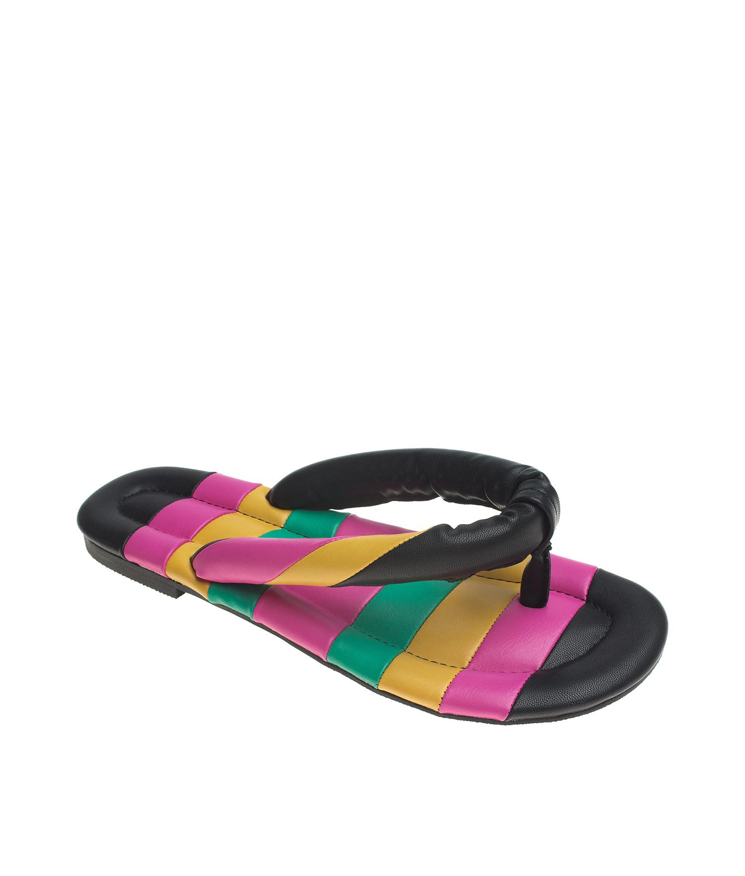 c5f77fdcb AnnaKastle Womens Color Block Flip Flops Slide Sandals PinkMulti