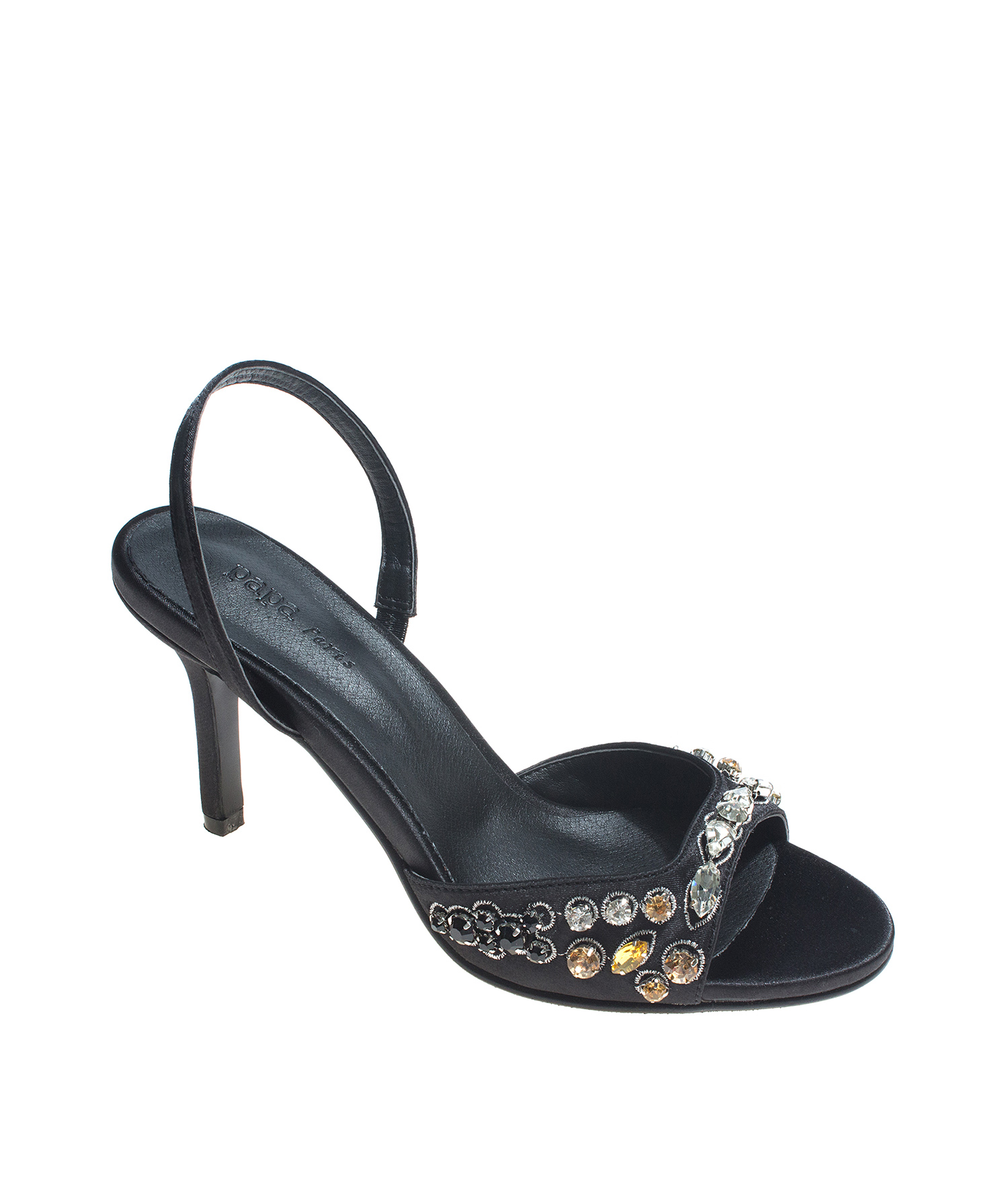 195fe93c306 AnnaKastle Womens Jewel Embellished Satin Slingback Sandals Black