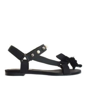 d1739441855 ... AnnaKastle Womens Webbing Strap Bow Flat Sandals Black