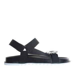 bc6b0b30b42 Jeweled Buckle Webbing Strap Flat Sandals - annakastleshoes.com